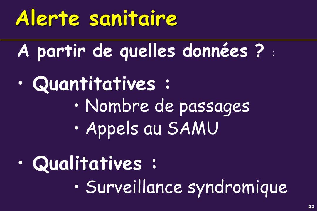 22 Alerte sanitaire A partir de quelles données ? : Quantitatives : Nombre de passages Appels au SAMU Qualitatives : Surveillance syndromique