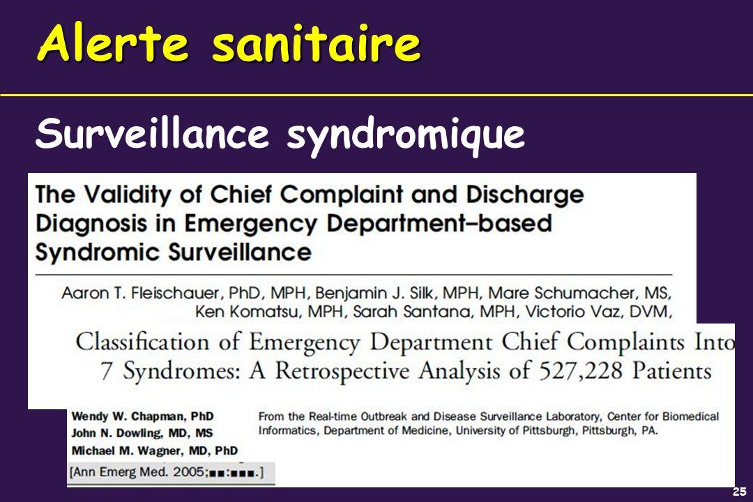 25 Alerte sanitaire Surveillance syndromique