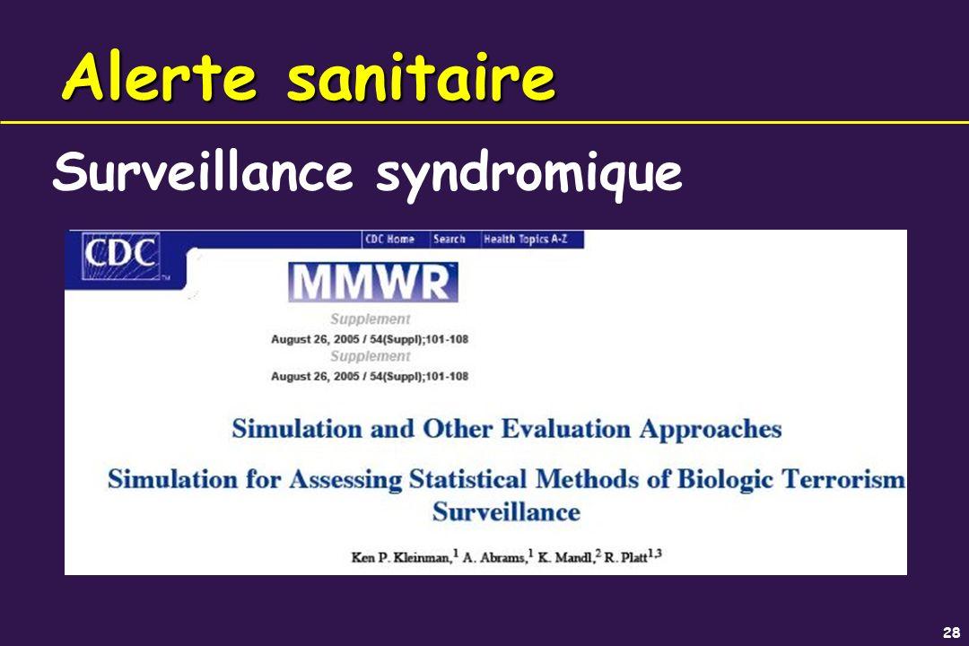 28 Alerte sanitaire Surveillance syndromique