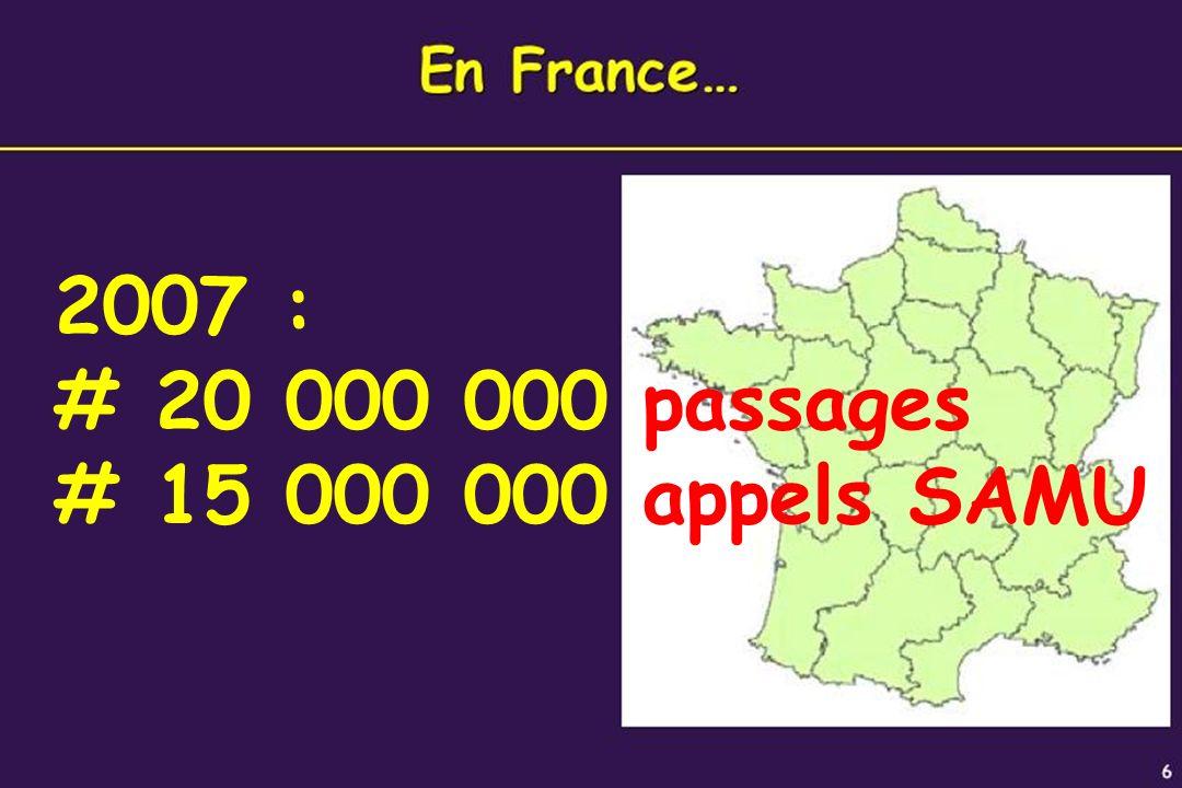 7 2007 : # 20 000 000 passages # 15 000 000 appels SAMU