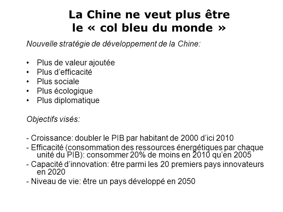Les mythes du « Made in China » Les produits « Made in China » sont le résultat dune production organisée globalement.