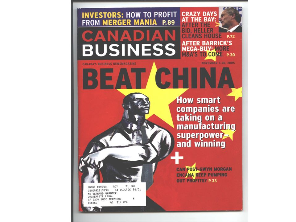 Punish Us, Please by Jim Stanford, Canadian Auto Workers, No 80, 25 avril 2004 Chinese officials have hinted darkly that if Canadian politicians expre