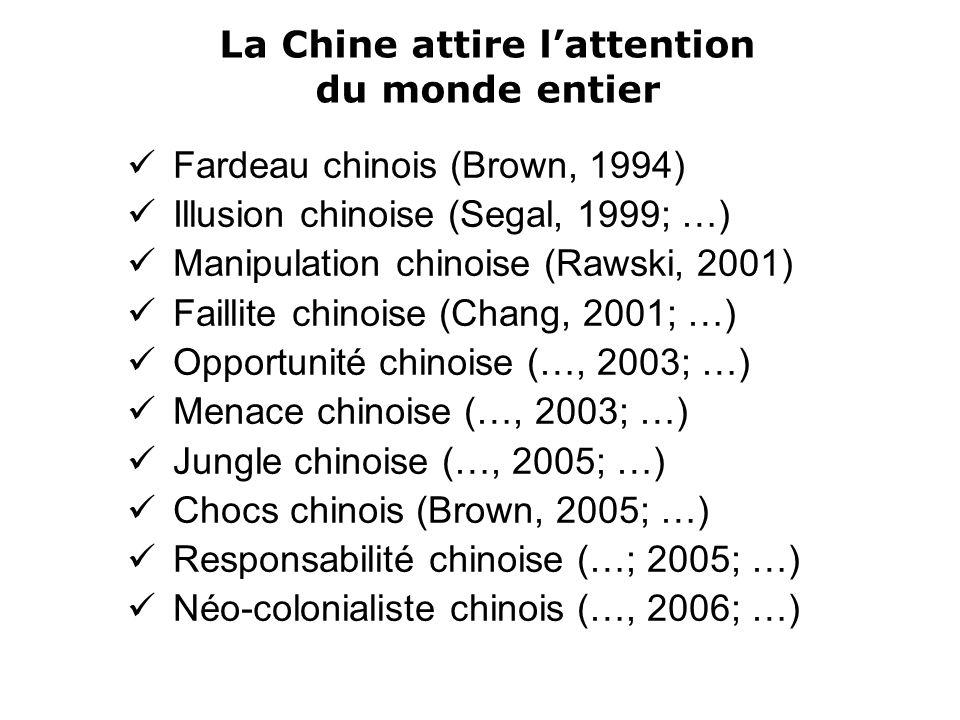La Chine attire lattention du monde entier Fardeau chinois (Brown, 1994) Illusion chinoise (Segal, 1999; …) Manipulation chinoise (Rawski, 2001) Faillite chinoise (Chang, 2001; …) Opportunité chinoise (…, 2003; …) Menace chinoise (…, 2003; …) Jungle chinoise (…, 2005; …) Chocs chinois (Brown, 2005; …) Responsabilité chinoise (…; 2005; …) Néo-colonialiste chinois (…, 2006; …)