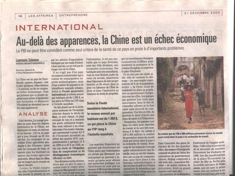 La Chine ne veut plus être le « col bleu du monde » Nouvelle stratégie de développement de la Chine: Plus de valeur ajoutée Plus defficacité Plus sociale Plus écologique Plus diplomatique Objectifs visés: - Croissance: doubler le PIB par habitant de 2000 dici 2010 - Efficacité (consommation des ressources énergétiques par chaque unité du PIB): consommer 20% de moins en 2010 quen 2005 - Capacité dinnovation: être parmi les 20 premiers pays innovateurs en 2020 - Niveau de vie: être un pays développé en 2050