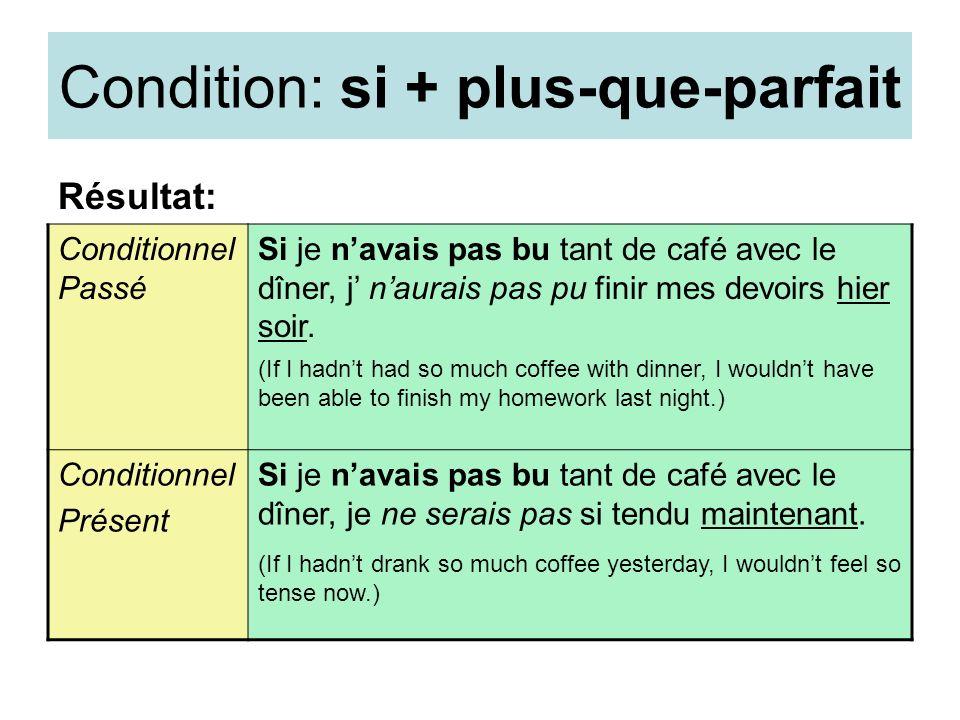 Condition: si + plus-que-parfait Résultat: Conditionnel Passé Si je navais pas bu tant de café avec le dîner, j naurais pas pu finir mes devoirs hier