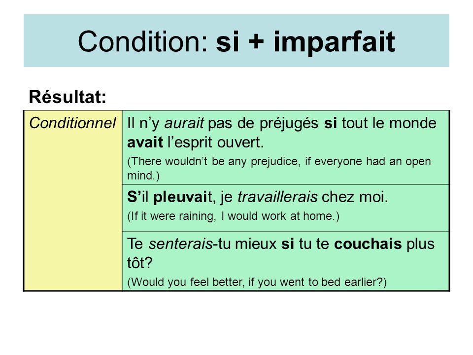 Condition: si + imparfait Résultat: ConditionnelIl ny aurait pas de préjugés si tout le monde avait lesprit ouvert. (There wouldnt be any prejudice, i