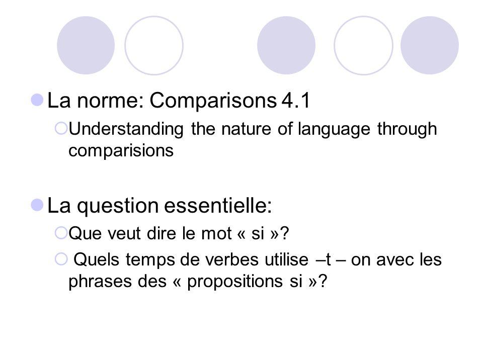 La norme: Comparisons 4.1 Understanding the nature of language through comparisions La question essentielle: Que veut dire le mot « si »? Quels temps