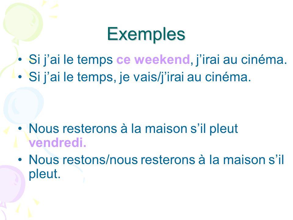 A vous 1) Si on fait des exercises, on (être) en forme. 2) 3)