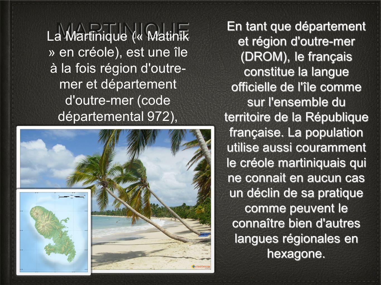 MARTINIQUE En tant que département et région d'outre-mer (DROM), le français constitue la langue officielle de l'île comme sur l'ensemble du territoir