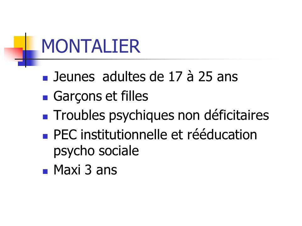 MONTALIER Jeunes adultes de 17 à 25 ans Garçons et filles Troubles psychiques non déficitaires PEC institutionnelle et rééducation psycho sociale Maxi