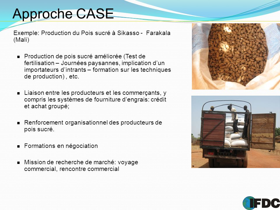 Approche CASE Exemple: Production du Pois sucré à Sikasso - Farakala (Mali) Production de pois sucré améliorée (Test de fertilisation – Journées paysa