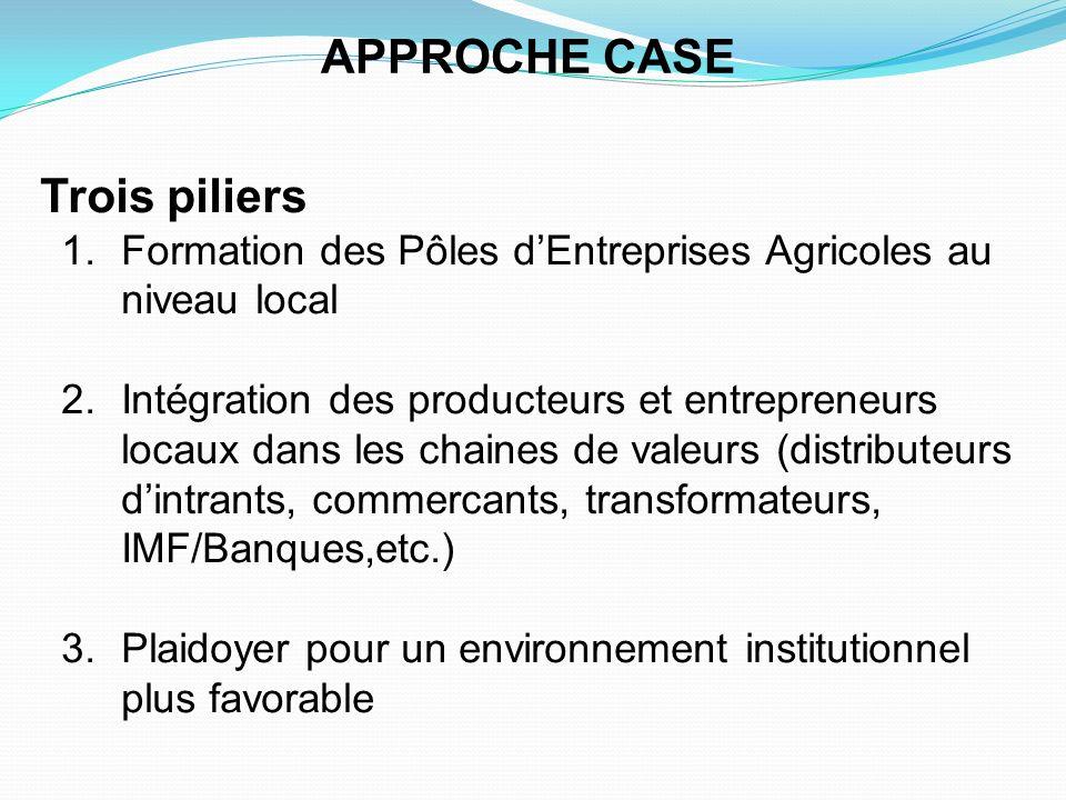 Trois piliers 1.Formation des Pôles dEntreprises Agricoles au niveau local 2.Intégration des producteurs et entrepreneurs locaux dans les chaines de v