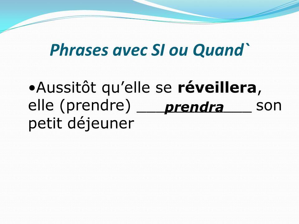 Phrases avec SI ou Quand` Dès que Blanchette (entendre) _____________ M.