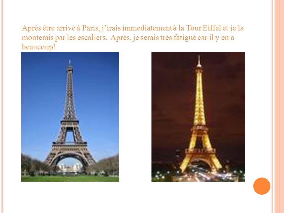 Après être arrivé à Paris, jirais immediatement à la Tour Eiffel et je la monterais par les escaliers. Après, je serais très fatigué car il y en a bea