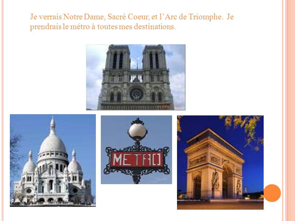 Je verrais Notre Dame, Sacré Coeur, et lArc de Triomphe. Je prendrais le métro à toutes mes destinations.