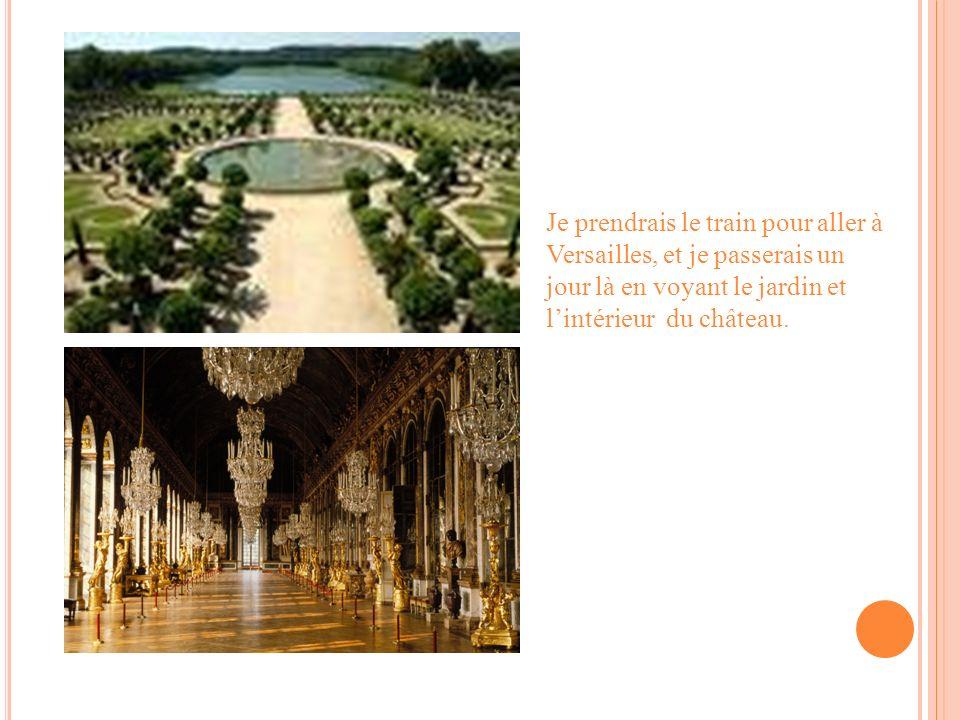Je prendrais le train pour aller à Versailles, et je passerais un jour là en voyant le jardin et lintérieur du château.