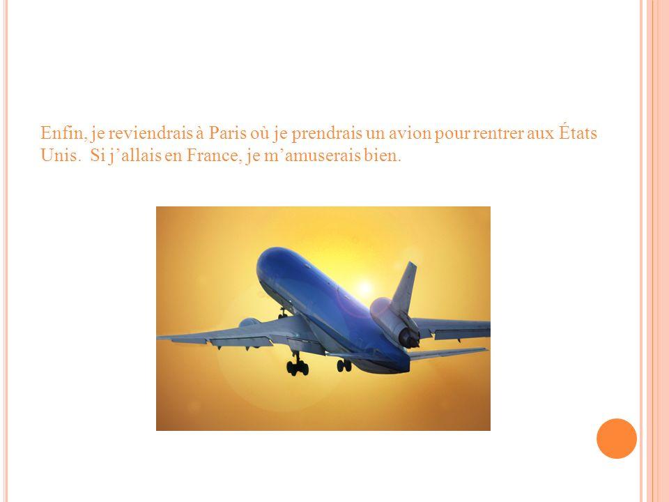 Enfin, je reviendrais à Paris où je prendrais un avion pour rentrer aux États Unis. Si jallais en France, je mamuserais bien.
