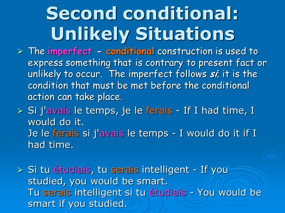 Third conditional: Impossible situations The pluperfect - conditional perfect construction is used to express a hypothetical situation that is contrary to past fact.