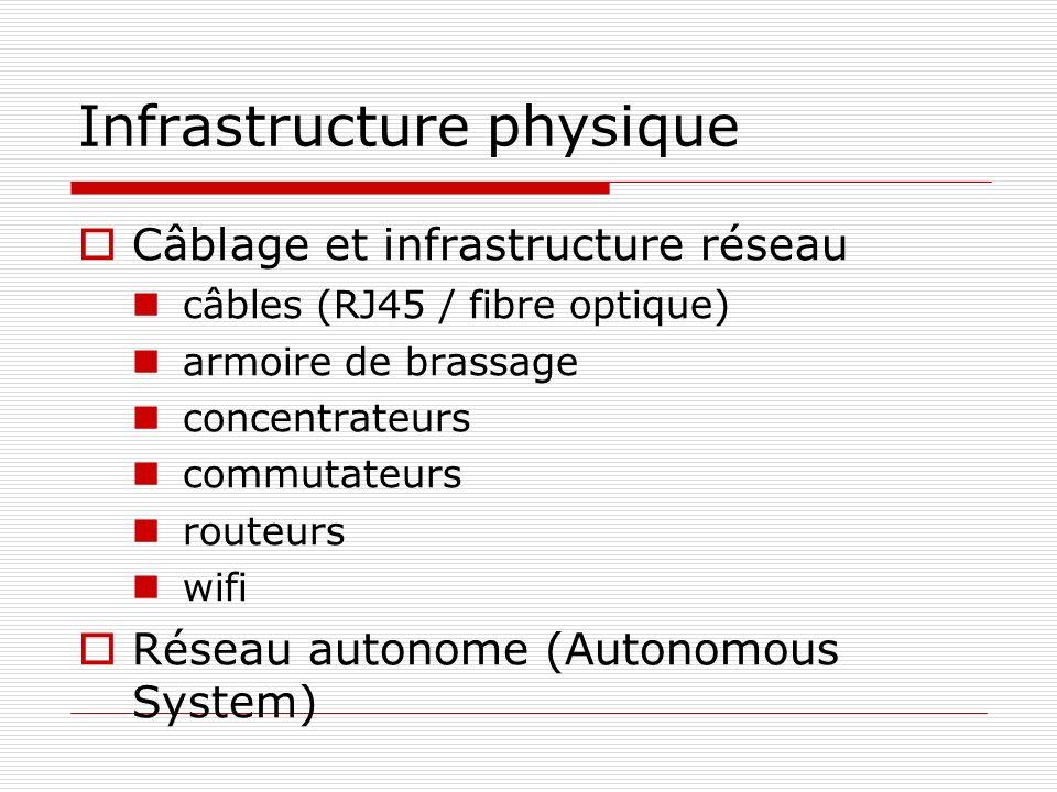 Infrastructure physique Câblage et infrastructure réseau câbles (RJ45 / fibre optique) armoire de brassage concentrateurs commutateurs routeurs wifi R