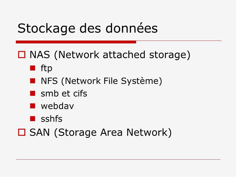 Stockage des données NAS (Network attached storage) ftp NFS (Network File Système) smb et cifs webdav sshfs SAN (Storage Area Network)