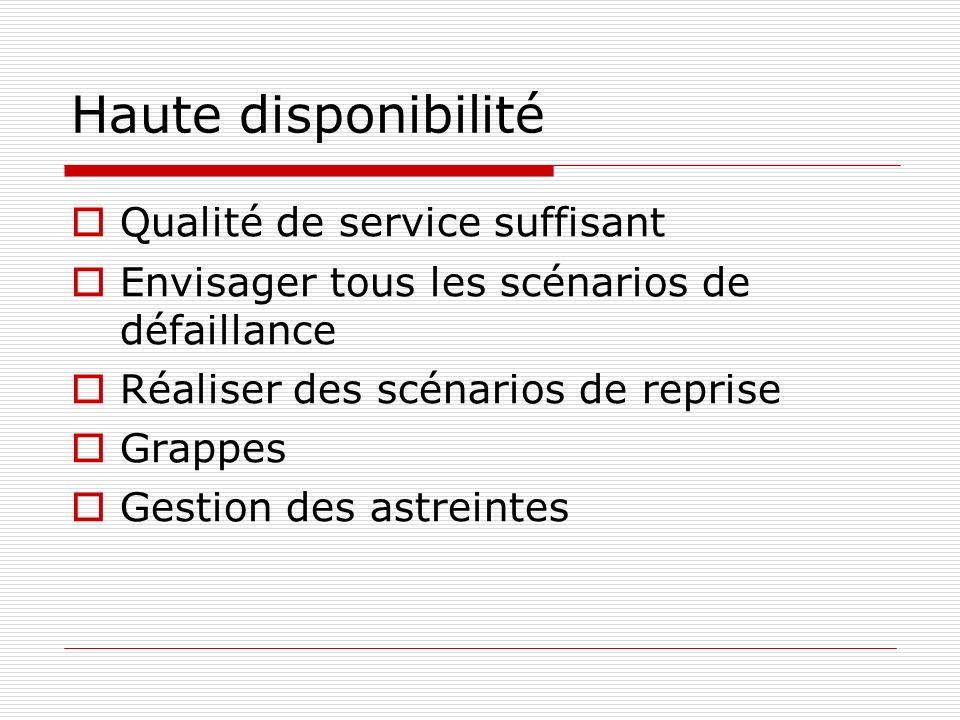 Haute disponibilité Qualité de service suffisant Envisager tous les scénarios de défaillance Réaliser des scénarios de reprise Grappes Gestion des ast
