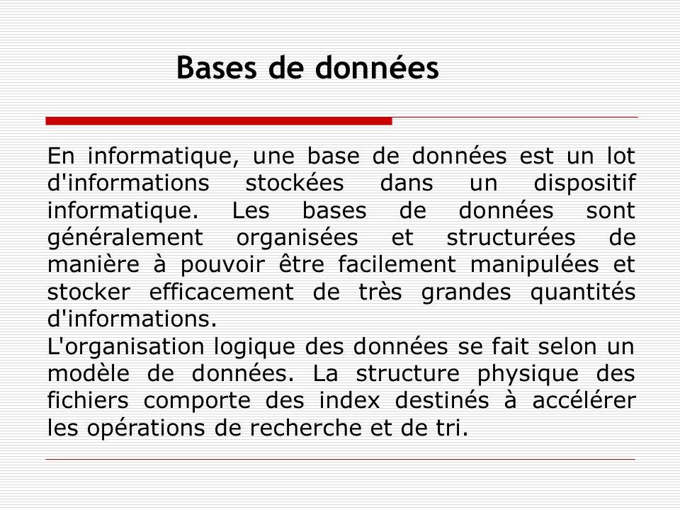 En informatique, une base de données est un lot d'informations stockées dans un dispositif informatique. Les bases de données sont généralement organi