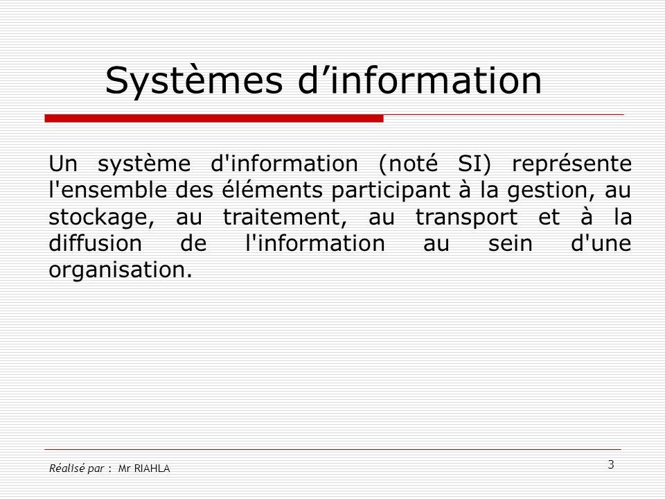 4 Rôle dun systèmes dinformation Collecter les informations Stocker les informations Traiter les informations Diffuser les informations Réalisé par : Mr RIAHLA