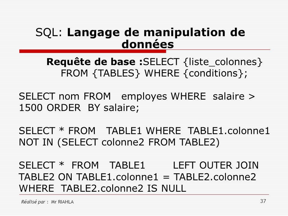 37 SQL: Langage de manipulation de données Réalisé par : Mr RIAHLA Requête de base :SELECT {liste_colonnes} FROM {TABLES} WHERE {conditions}; SELECT n