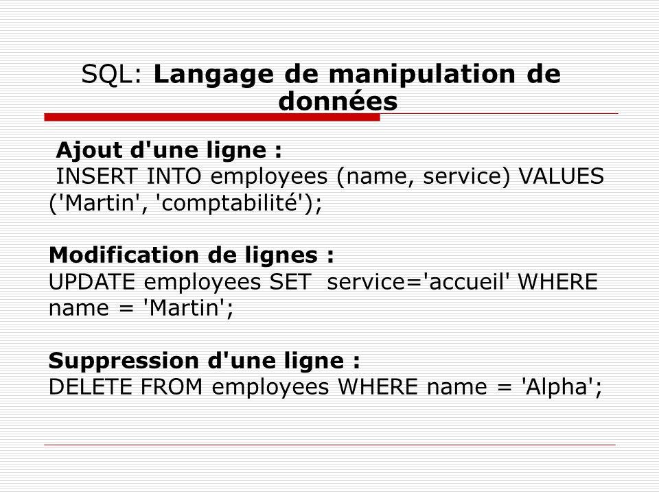 SQL: Langage de manipulation de données Ajout d'une ligne : INSERT INTO employees (name, service) VALUES ('Martin', 'comptabilité'); Modification de l