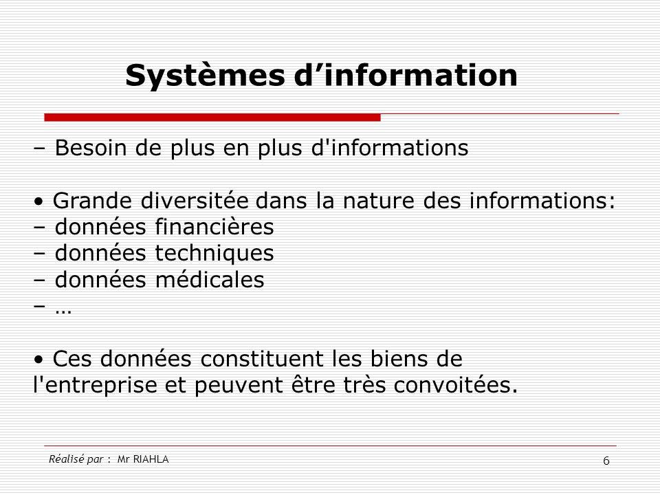 6 – Besoin de plus en plus d'informations Grande diversitée dans la nature des informations: – données financières – données techniques – données médi