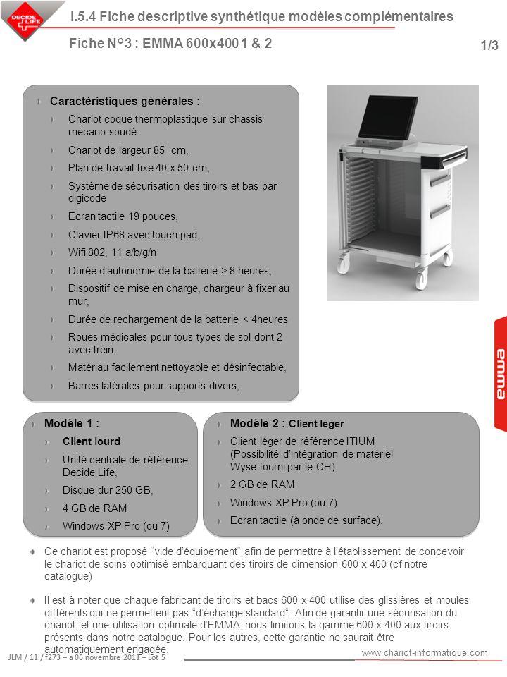 www.chariot-informatique.com JLM / 11 / f273 – a 06 novembre 2011 – Lot 5 Ce chariot est proposé vide déquipement afin de permettre à létablissement d