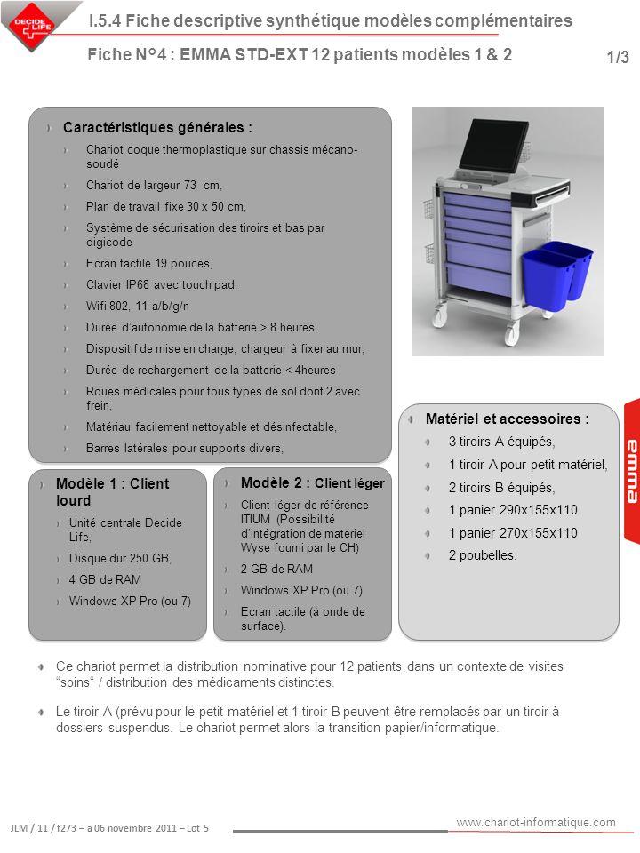www.chariot-informatique.com JLM / 11 / f273 – a 06 novembre 2011 – Lot 5 Matériel et accessoires : 3 tiroirs A équipés, 1 tiroir A pour petit matérie