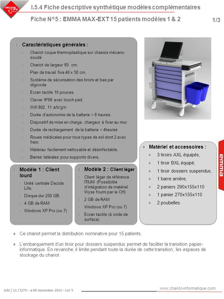 www.chariot-informatique.com JLM / 11 / f273 – a 06 novembre 2011 – Lot 5 Matériel et accessoires : 3 tiroirs AXL équipés, 1 tiroir BXL équipé, 1 tiro