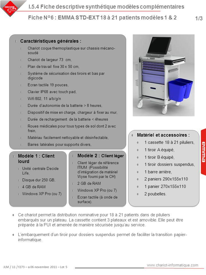 www.chariot-informatique.com JLM / 11 / f273 – a 06 novembre 2011 – Lot 5 Matériel et accessoires : 1 cassette 18 à 21 piluliers, 1 tiroir A équipé, 1