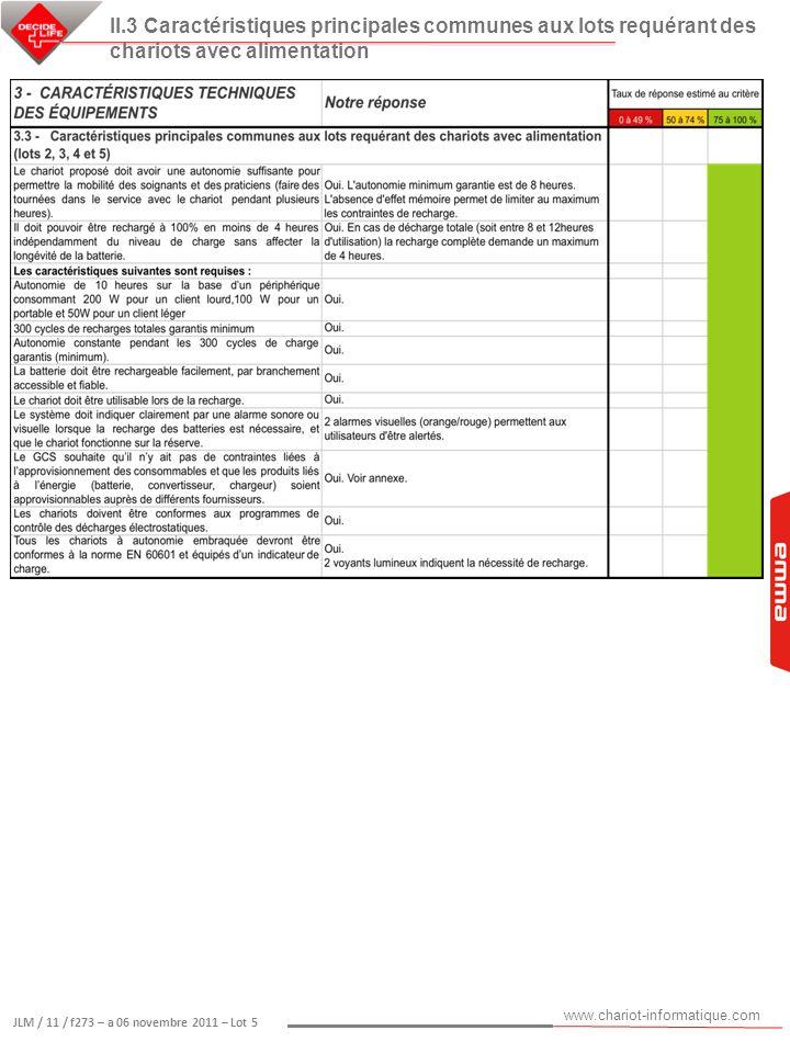 www.chariot-informatique.com JLM / 11 / f273 – a 06 novembre 2011 – Lot 5 II.3 Caractéristiques principales communes aux lots requérant des chariots a