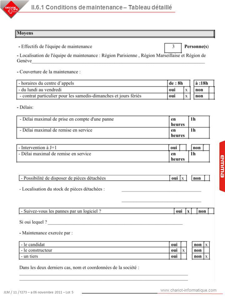 www.chariot-informatique.com JLM / 11 / f273 – a 06 novembre 2011 – Lot 5 II.6.1 Conditions de maintenance – Tableau détaillé