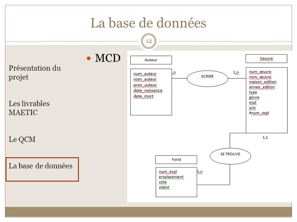 MCD Présentation du projet Les livrables MAETIC Le QCM La base de données 12 La base de données