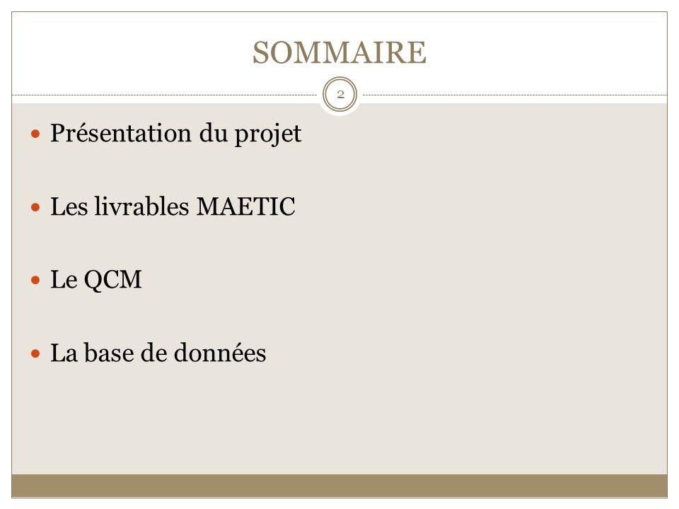 Cinq requêtes traduit en trois langages: 13 Présentation du projet Les livrables MAETIC Le QCM La base de données