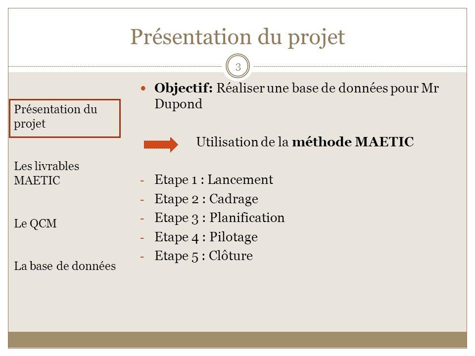 Objectif: Réaliser une base de données pour Mr Dupond Utilisation de la méthode MAETIC - Etape 1 : Lancement - Etape 2 : Cadrage - Etape 3 : Planifica