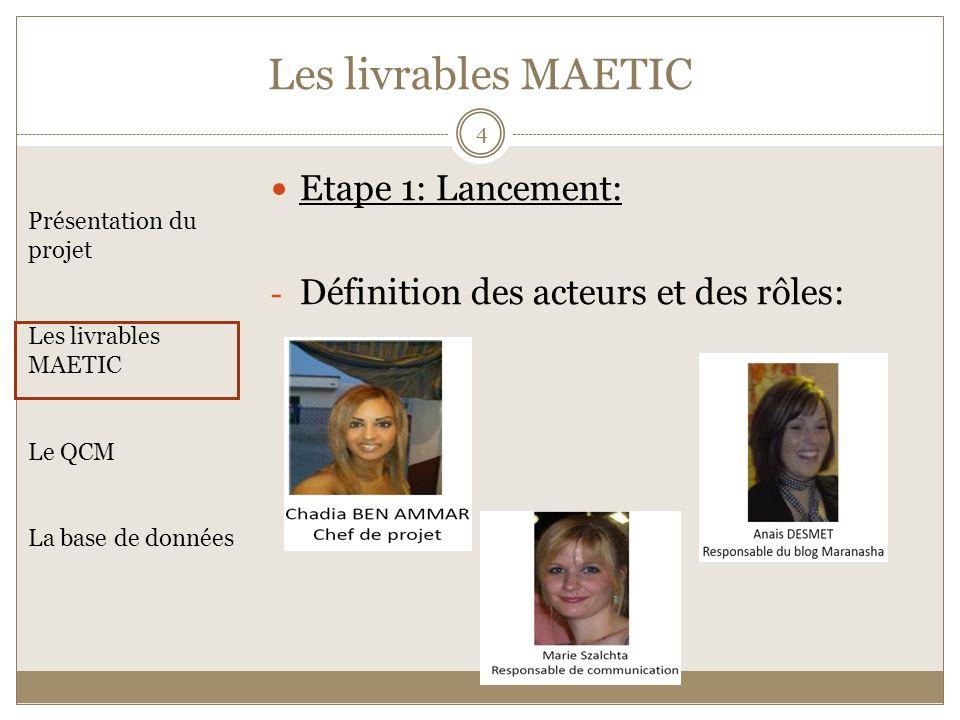 Les livrables MAETIC Etape 1: Lancement: - Définition des acteurs et des rôles: Présentation du projet Les livrables MAETIC Le QCM La base de données