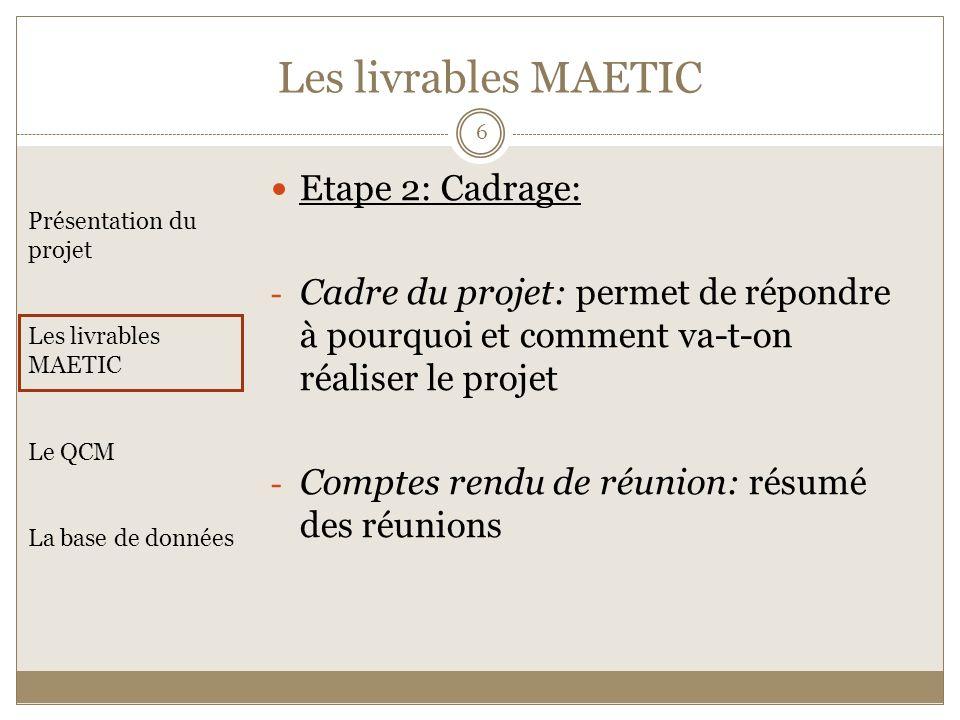 Présentation du projet Les livrables MAETIC Le QCM La base de données Etape 2: Cadrage: - Cadre du projet: permet de répondre à pourquoi et comment va