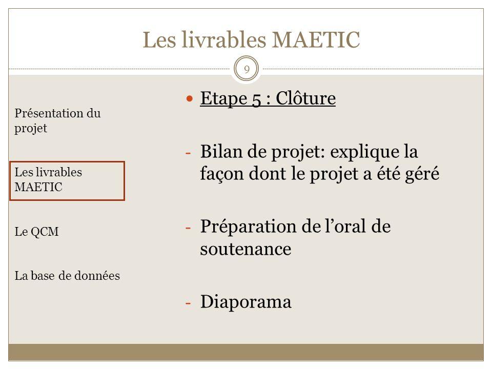 Etape 5 : Clôture - Bilan de projet: explique la façon dont le projet a été géré - Préparation de loral de soutenance - Diaporama Présentation du proj
