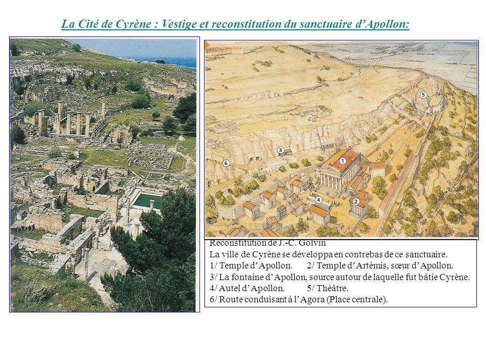 La Cité de Cyrène : Vestige et reconstitution du sanctuaire dApollon: Reconstitution de J.-C. Golvin La ville de Cyrène se développa en contrebas de c