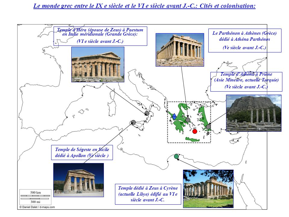 ¥ Comment expliquer la présence de temples grecs sur des territoires différents .