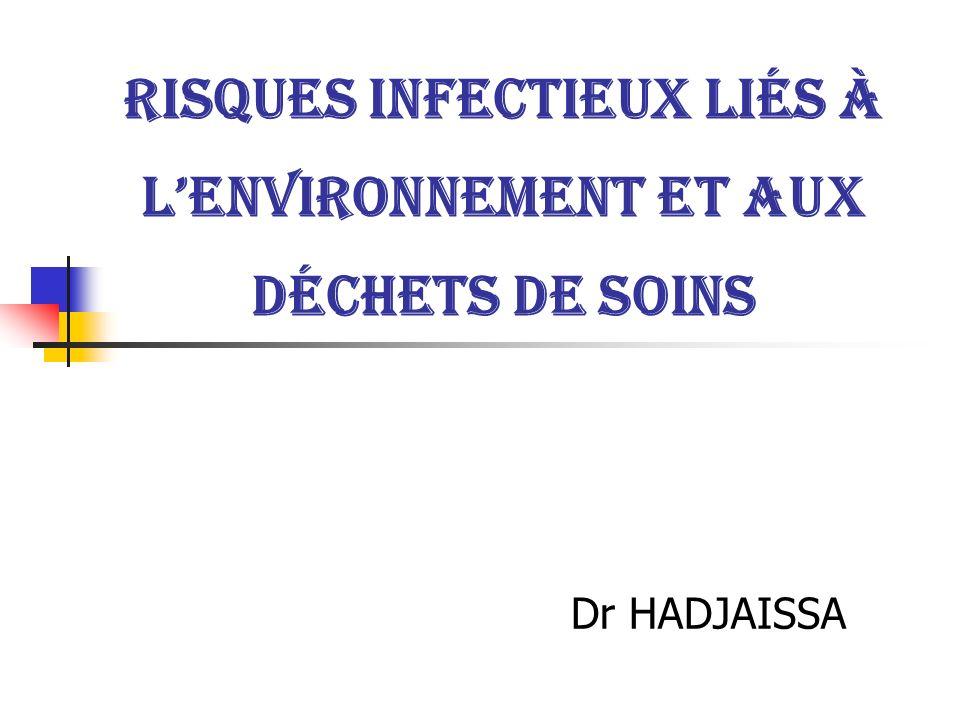 Risques infectieux liés à lenvironnement et aux déchets de soins Dr HADJAISSA