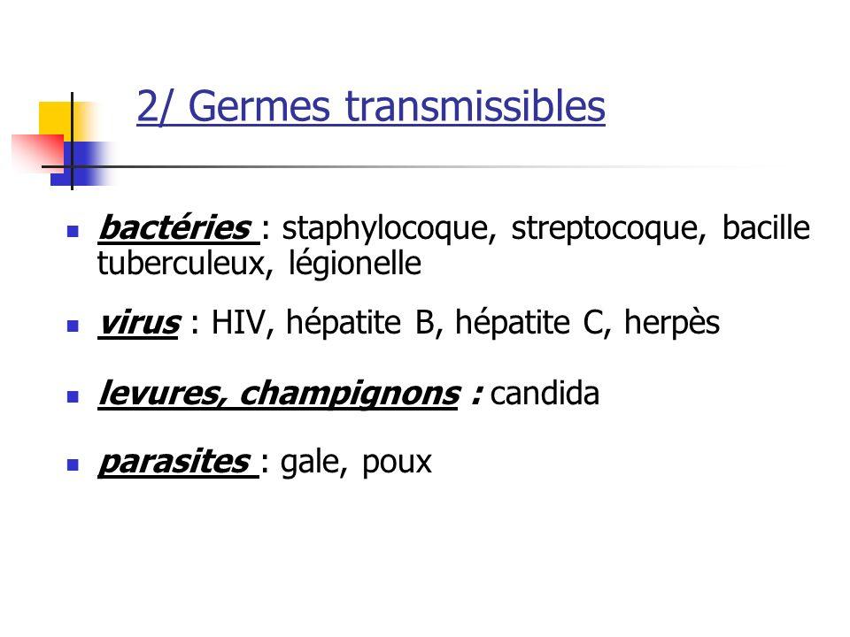 2/ Germes transmissibles bactéries : staphylocoque, streptocoque, bacille tuberculeux, légionelle virus : HIV, hépatite B, hépatite C, herpès levures, champignons : candida parasites : gale, poux