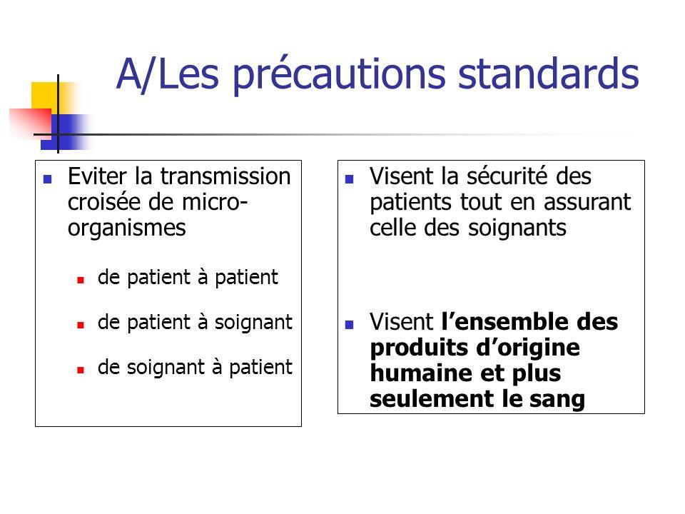 A/Les précautions standards Eviter la transmission croisée de micro- organismes de patient à patient de patient à soignant de soignant à patient Visen