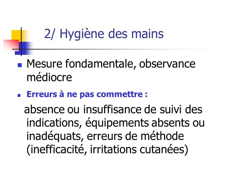 2/ Hygiène des mains Mesure fondamentale, observance médiocre Erreurs à ne pas commettre : absence ou insuffisance de suivi des indications, équipemen
