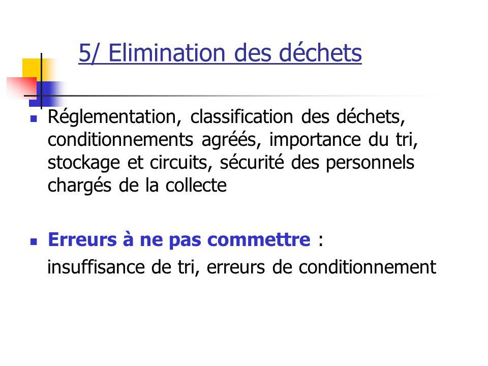 5/ Elimination des déchets Réglementation, classification des déchets, conditionnements agréés, importance du tri, stockage et circuits, sécurité des