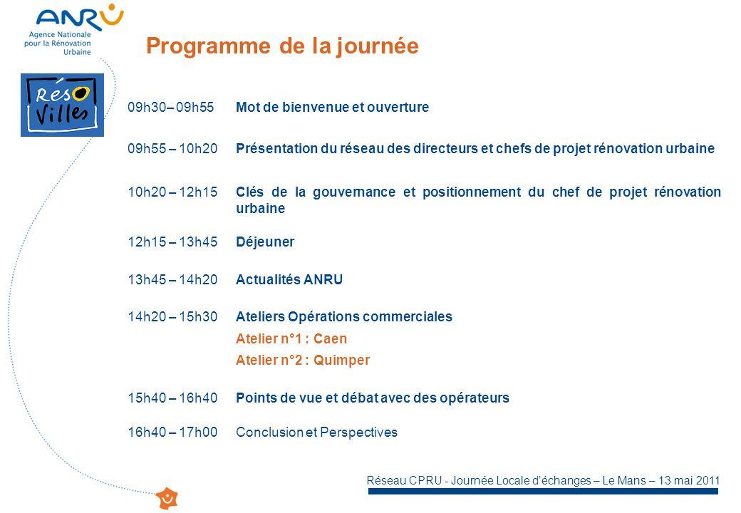 Réseau CPRU - Journée Locale déchanges – Le Mans – 13 mai 2011 Programme de la journée 09h30– 09h55Mot de bienvenue et ouverture 09h55 – 10h20Présentation du réseau des directeurs et chefs de projet rénovation urbaine 10h20 – 12h15Clés de la gouvernance et positionnement du chef de projet rénovation urbaine 12h15 – 13h45Déjeuner 13h45 – 14h20Actualités ANRU 14h20 – 15h30Ateliers Opérations commerciales Atelier n°1 : Caen Atelier n°2 : Quimper 15h40 – 16h40Points de vue et débat avec des opérateurs 16h40 – 17h00Conclusion et Perspectives